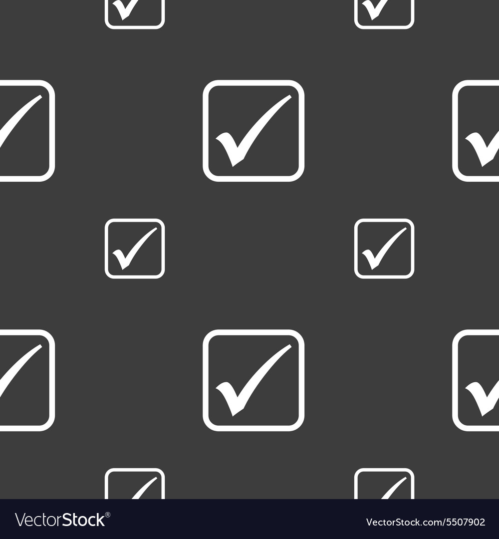 A check mark icon sign Seamless pattern on a gray