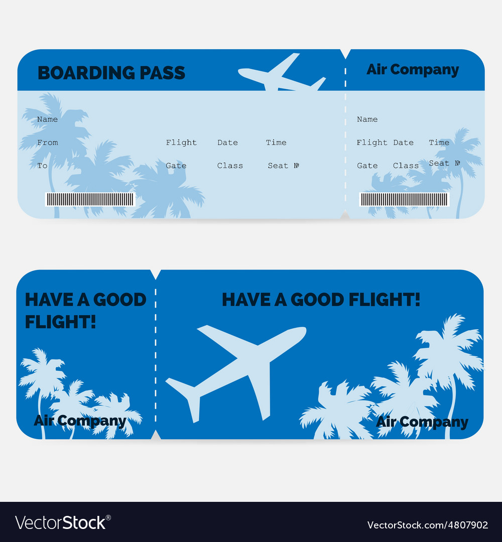 Airline boarding pass Blue ticket isolated on