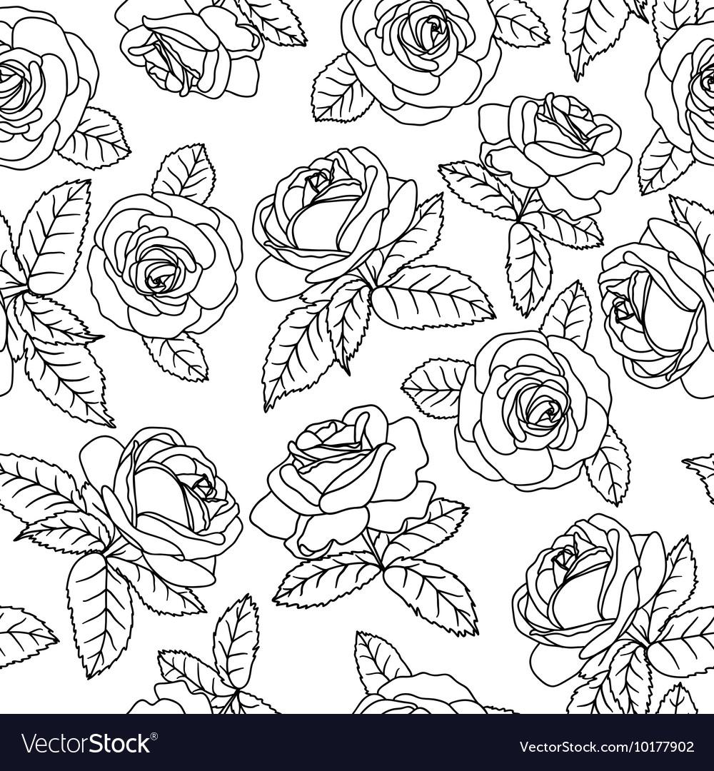 Black outline roses