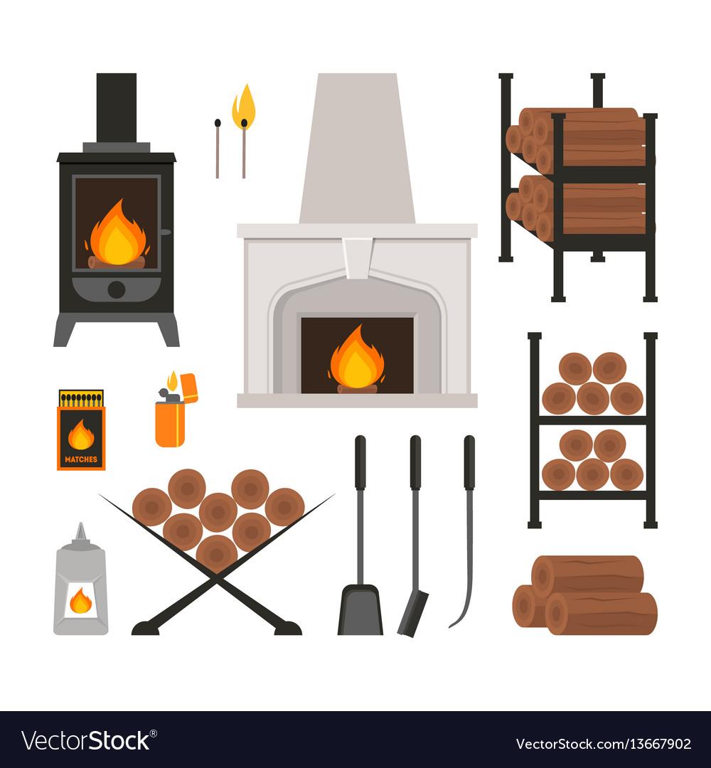 Cartoon fireplace icons set
