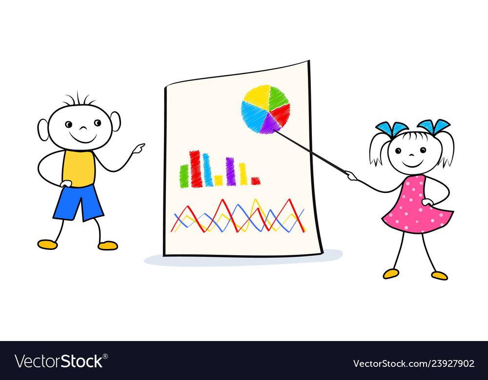Cartoon schoolboy and schoolgirl home wrok