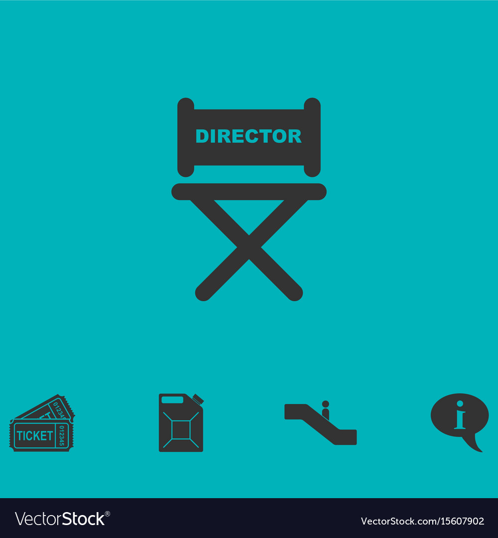 Director chair icon flat