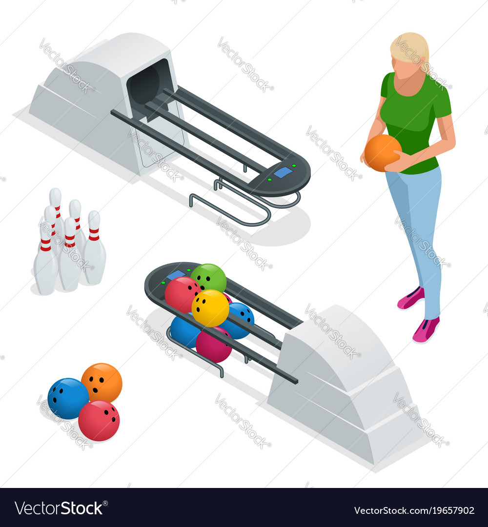 Isometric bowling pins at bowling machine a
