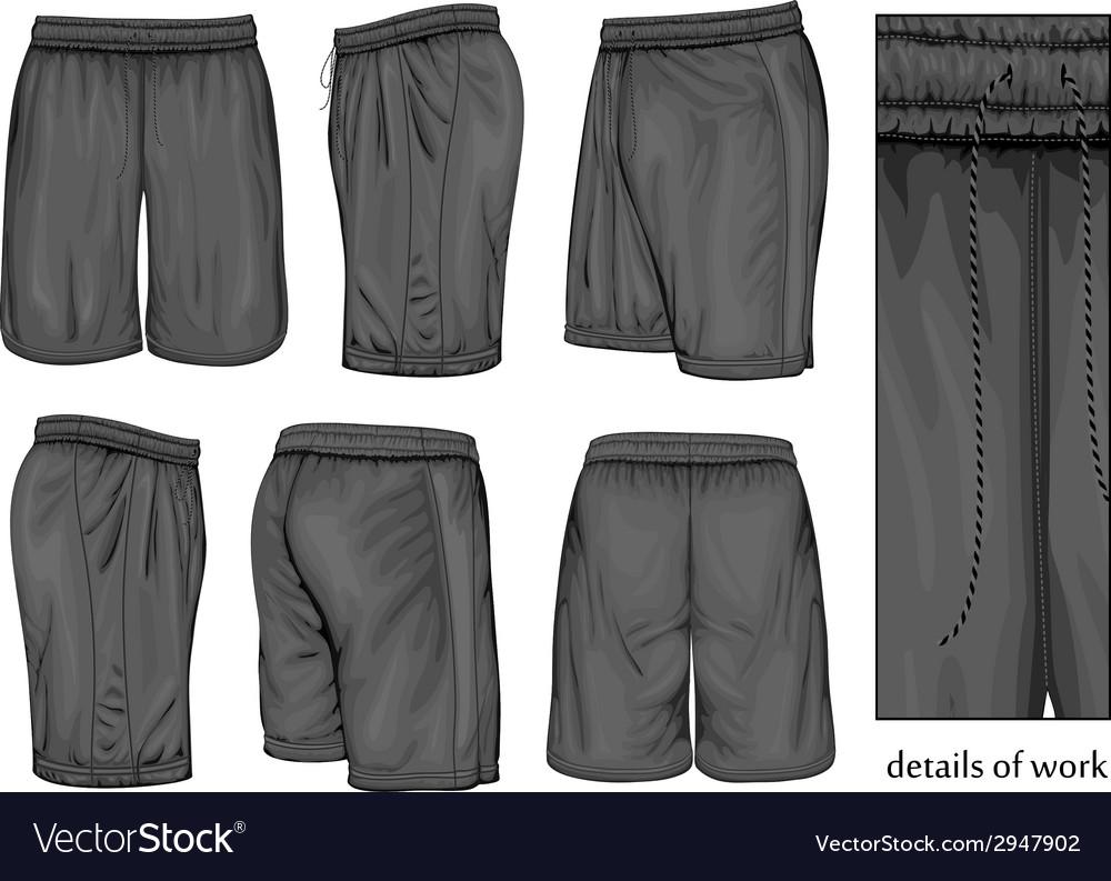 Mens black sport shorts vector image