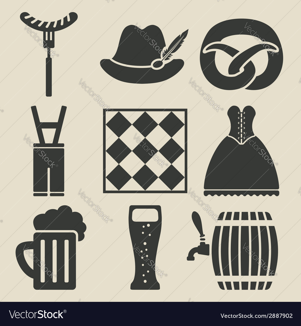 Oktoberfest beer festival icons set vector image