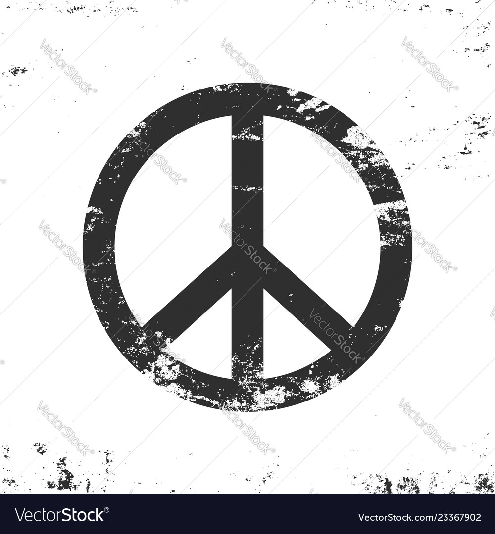 Peace symbol with grunge texture black and white
