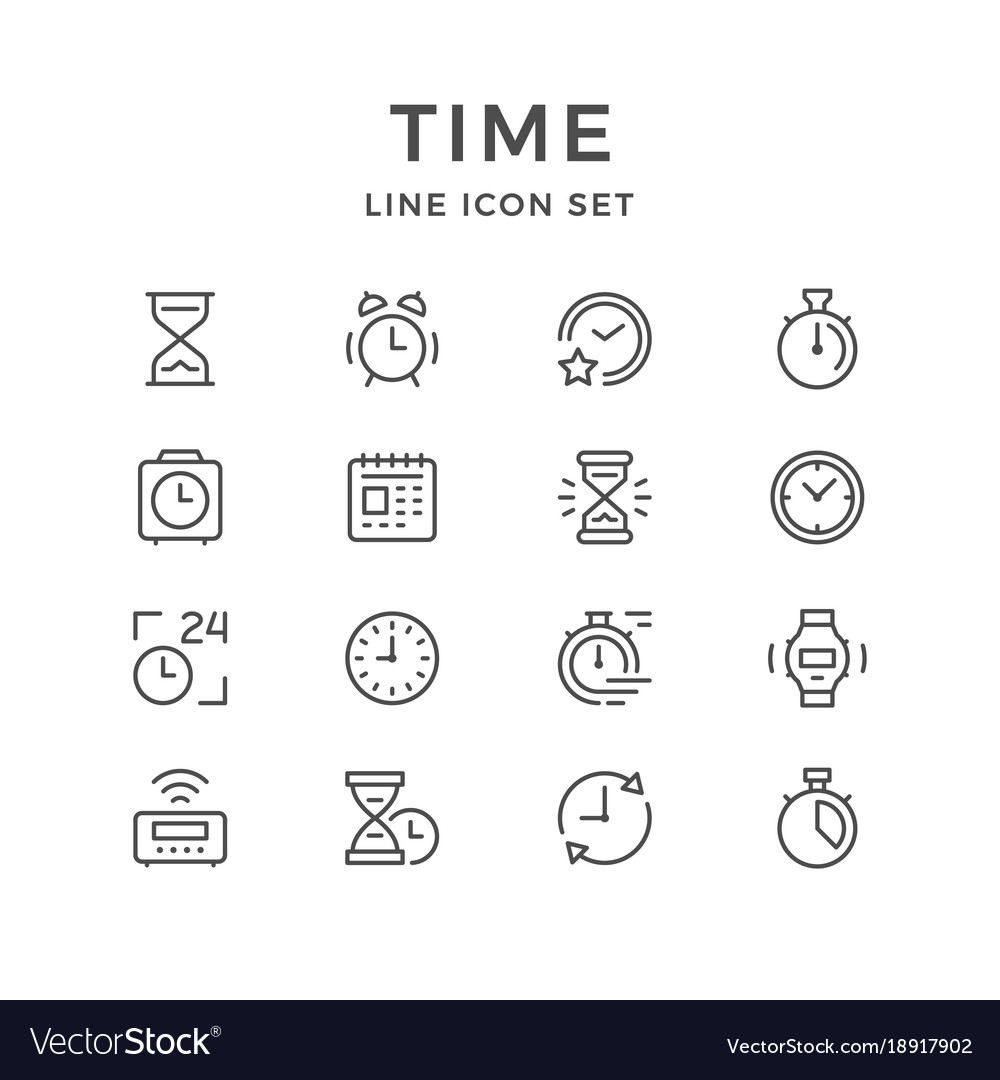 Set line icons of time vector image