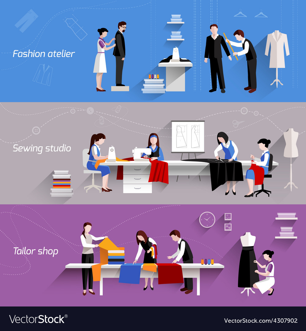 Sewing Horizontal Banners vector image