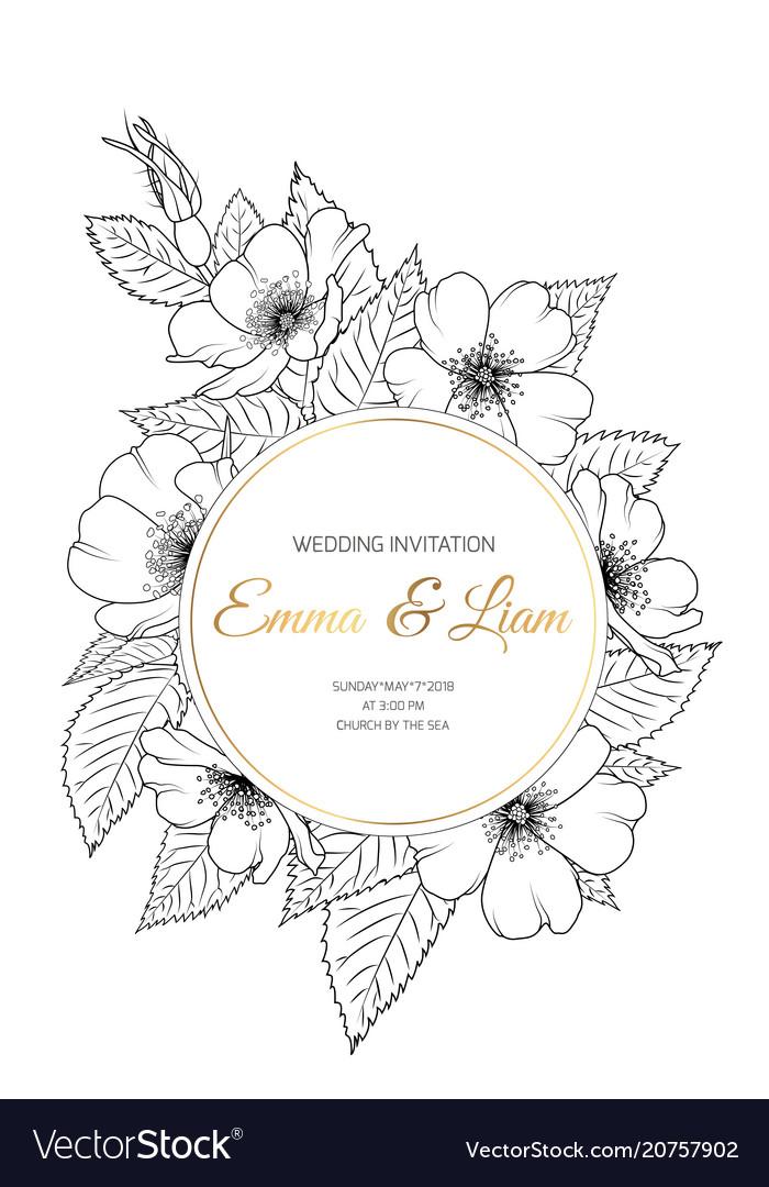 Wedding Invitation Wild Rose Wreath Black White
