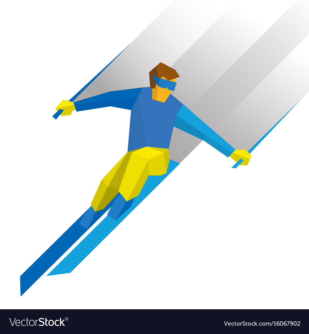Winter sports - skiing skier running downhill