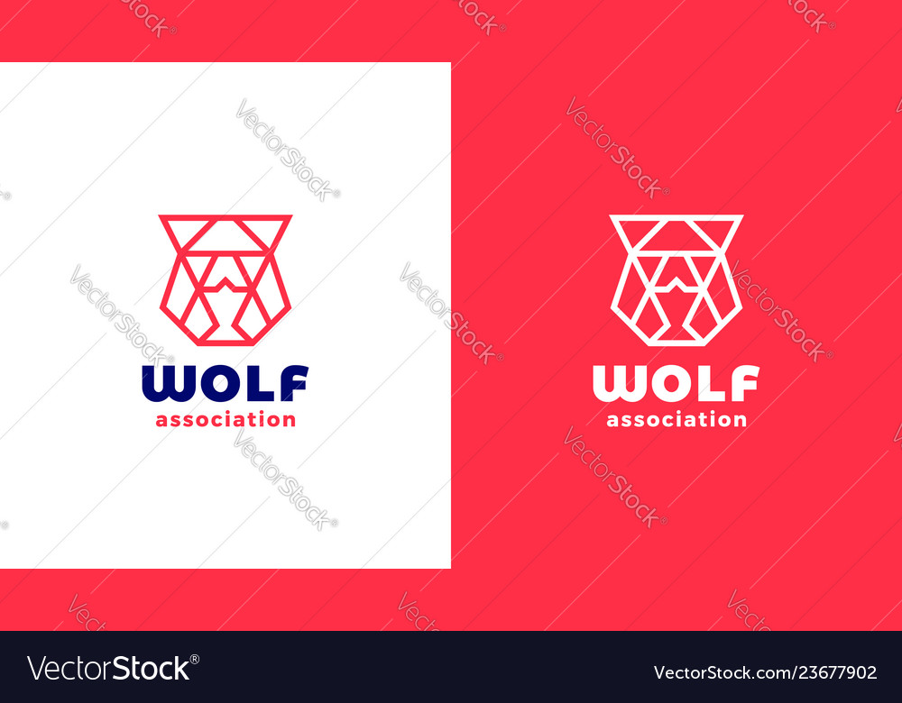Wolf head logotype template positive and negative