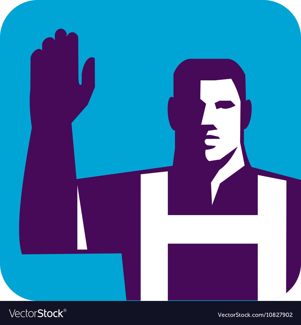 Worker Right Arm Raise to Vote Square Retro