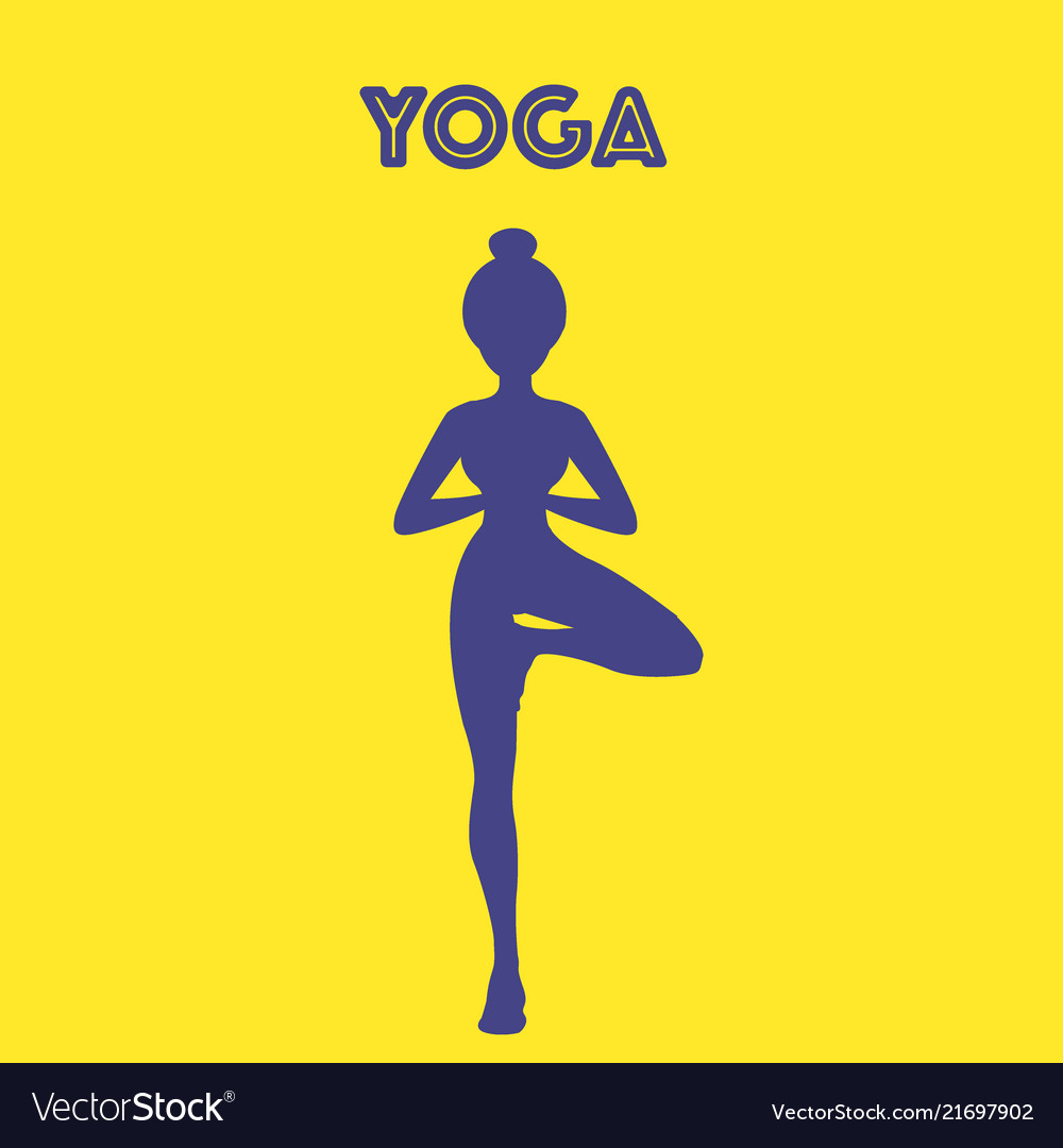 Yoga word with pose icon eps10