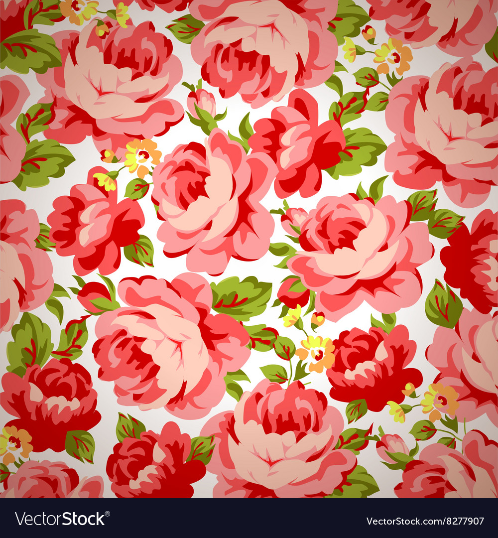 Beautiful Vintage Floral Pattern With Red Roses Vector Image