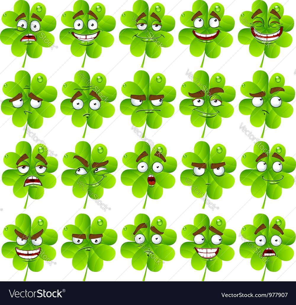 Cute cartoon four leaf clover Royalty Free Vector Image