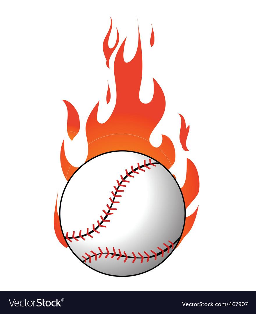 flaming baseball royalty free vector image vectorstock rh vectorstock com Flaming Baseball Bat Clip Art Flaming Baseball Wallpaper