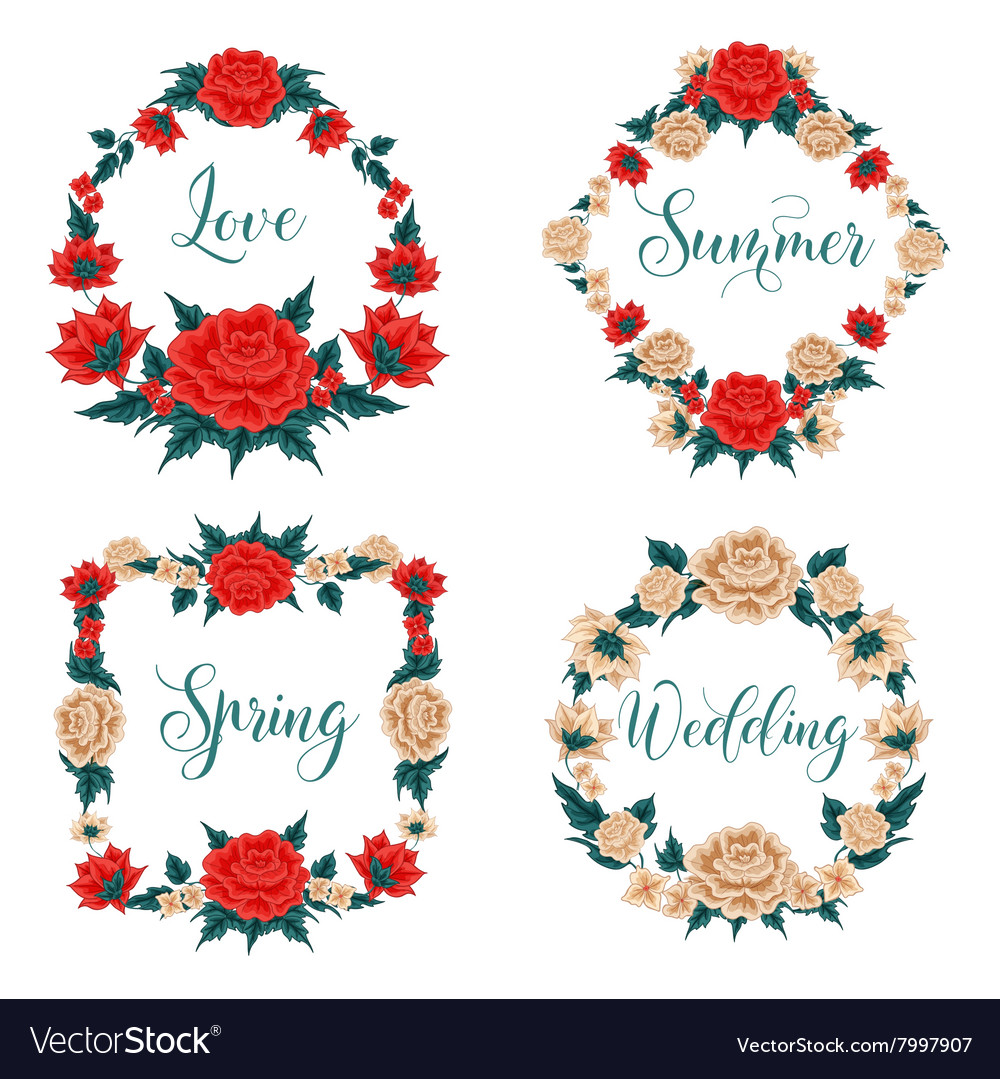 Flowers Set Floral Frames Red Roses