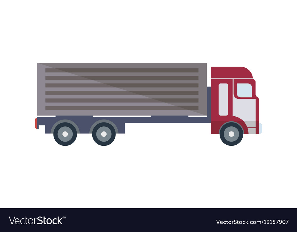 Freight truck isolated icon in flat design vector image
