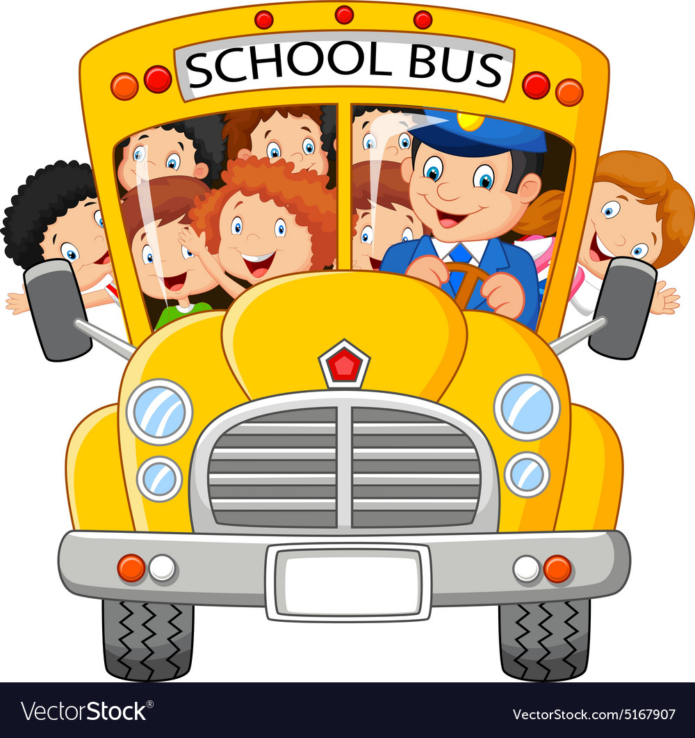 happy children on school bus royalty free vector image rh vectorstock com school bus vector ai school bus vector free
