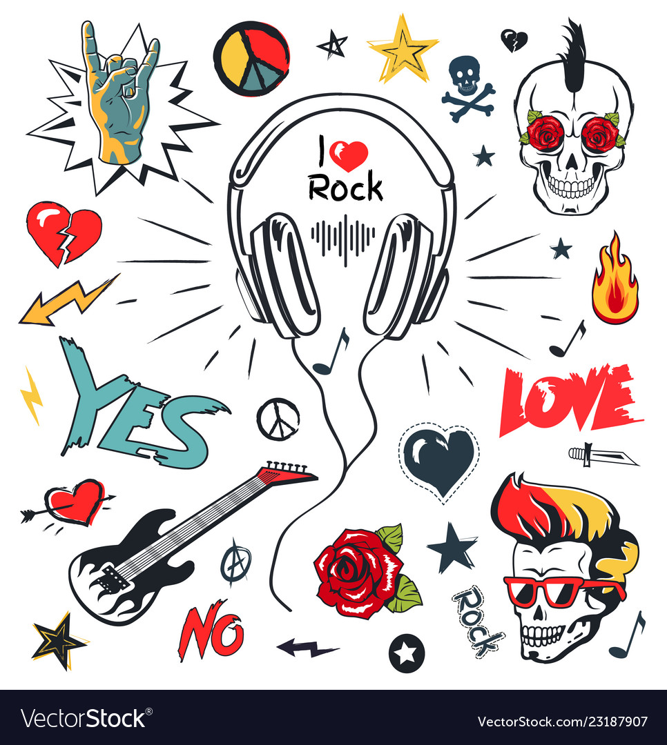 Headphones music musical patches stickers icons