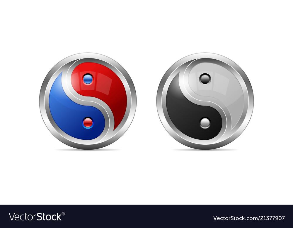 Metallic Yin Yang Symbol Design As 3d Shaped Vector Image