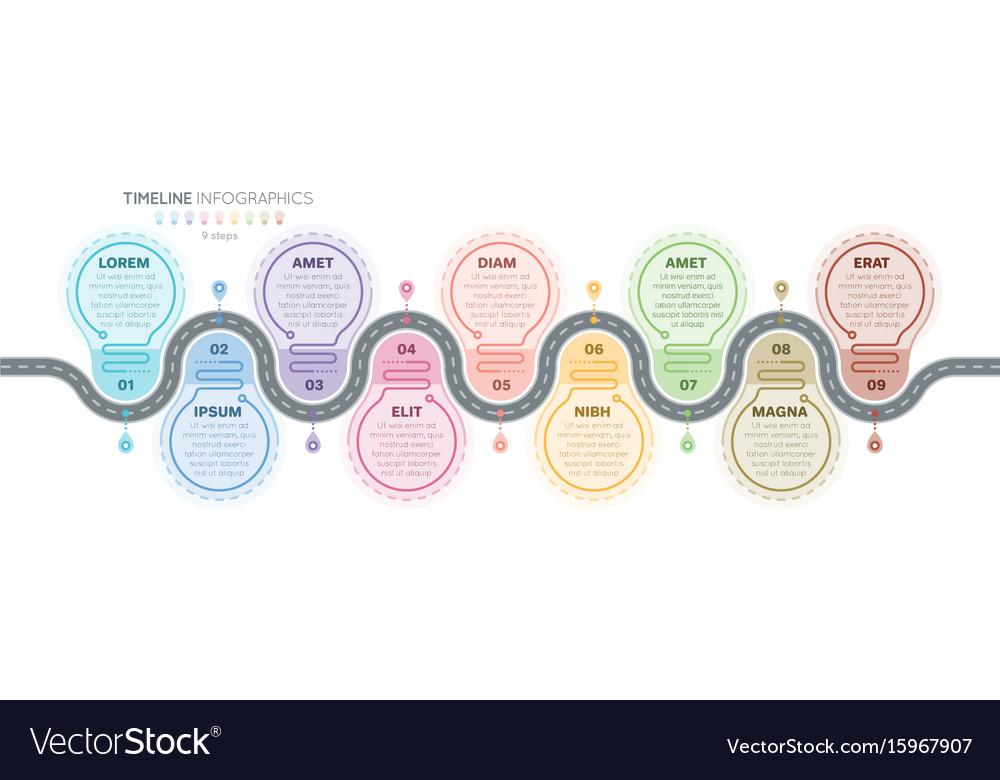 Navigation map infographics 9 steps timeline