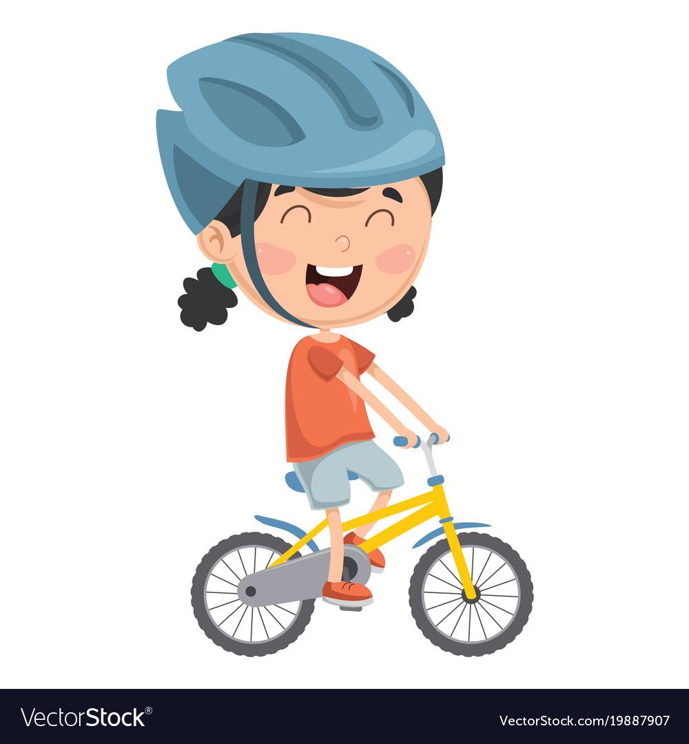 Of kid riding bike