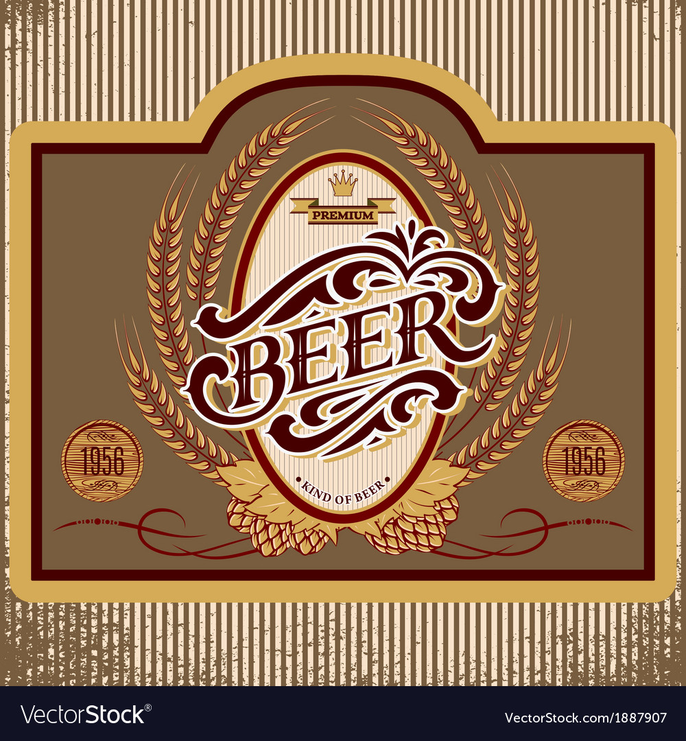 Oval label with ornament inscription for beer vector image