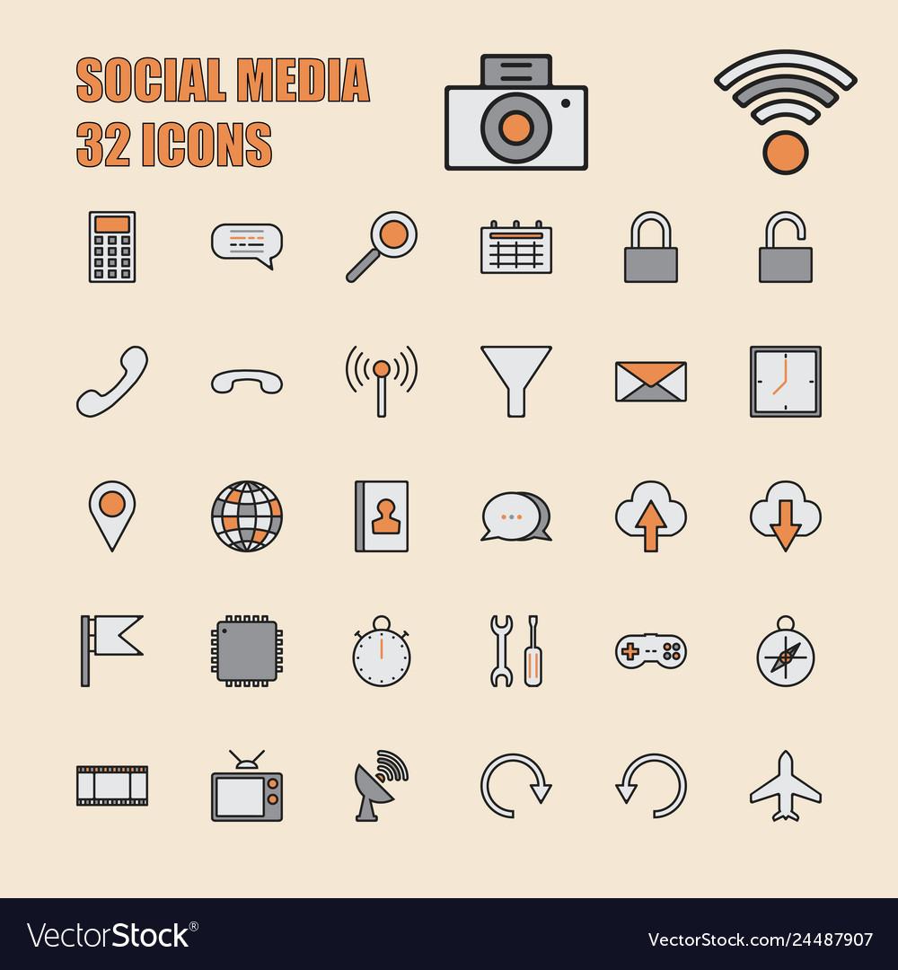 Social media thin line 64x64 pixel 32 icon set