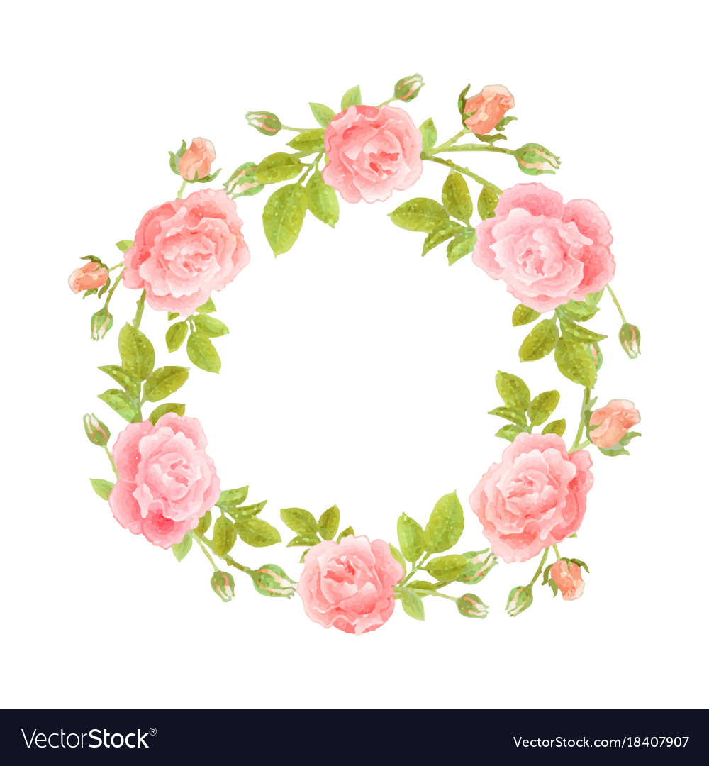 Watercolor wreath of flowers on white