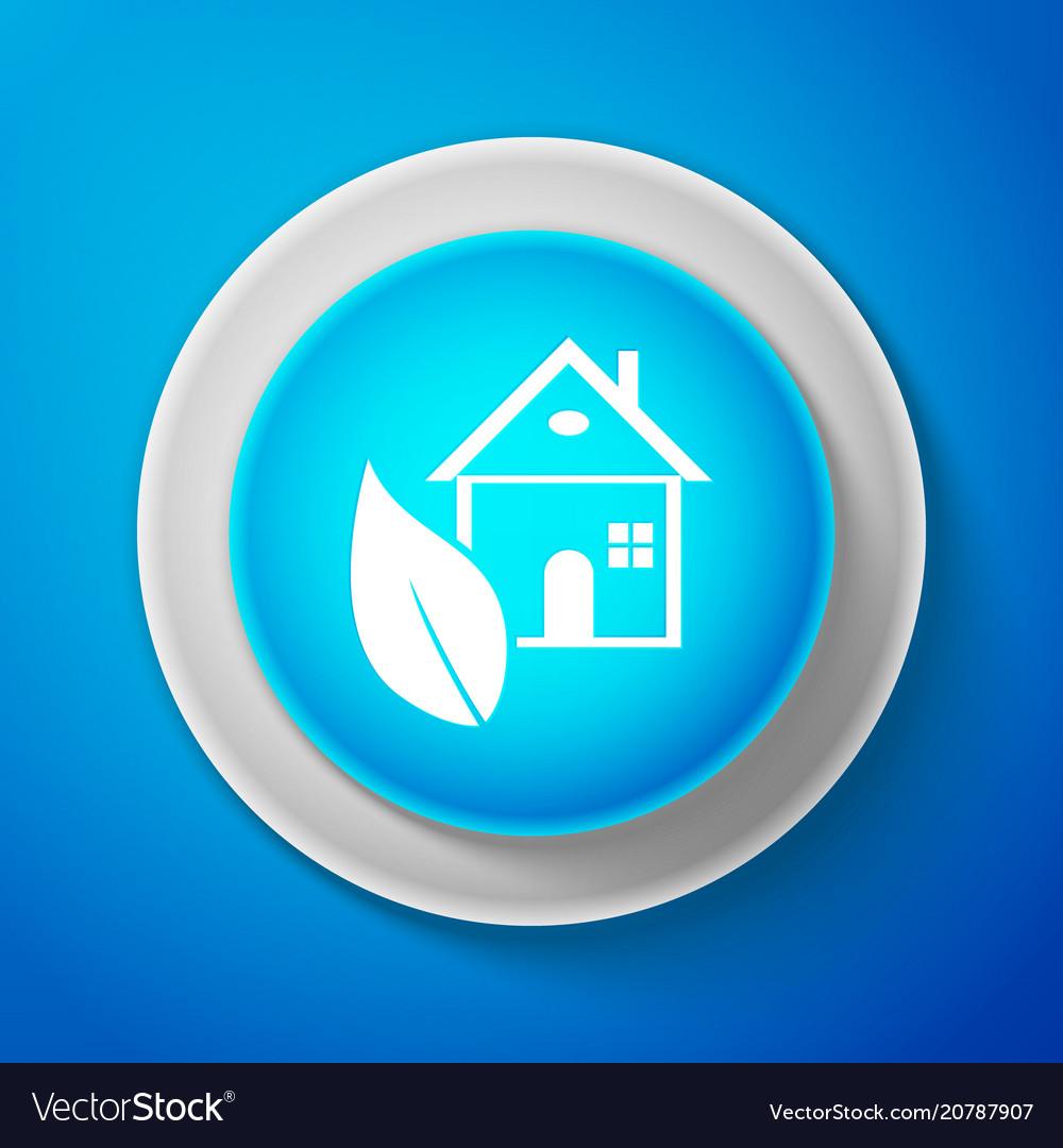 White eco house icon isolated on blue background