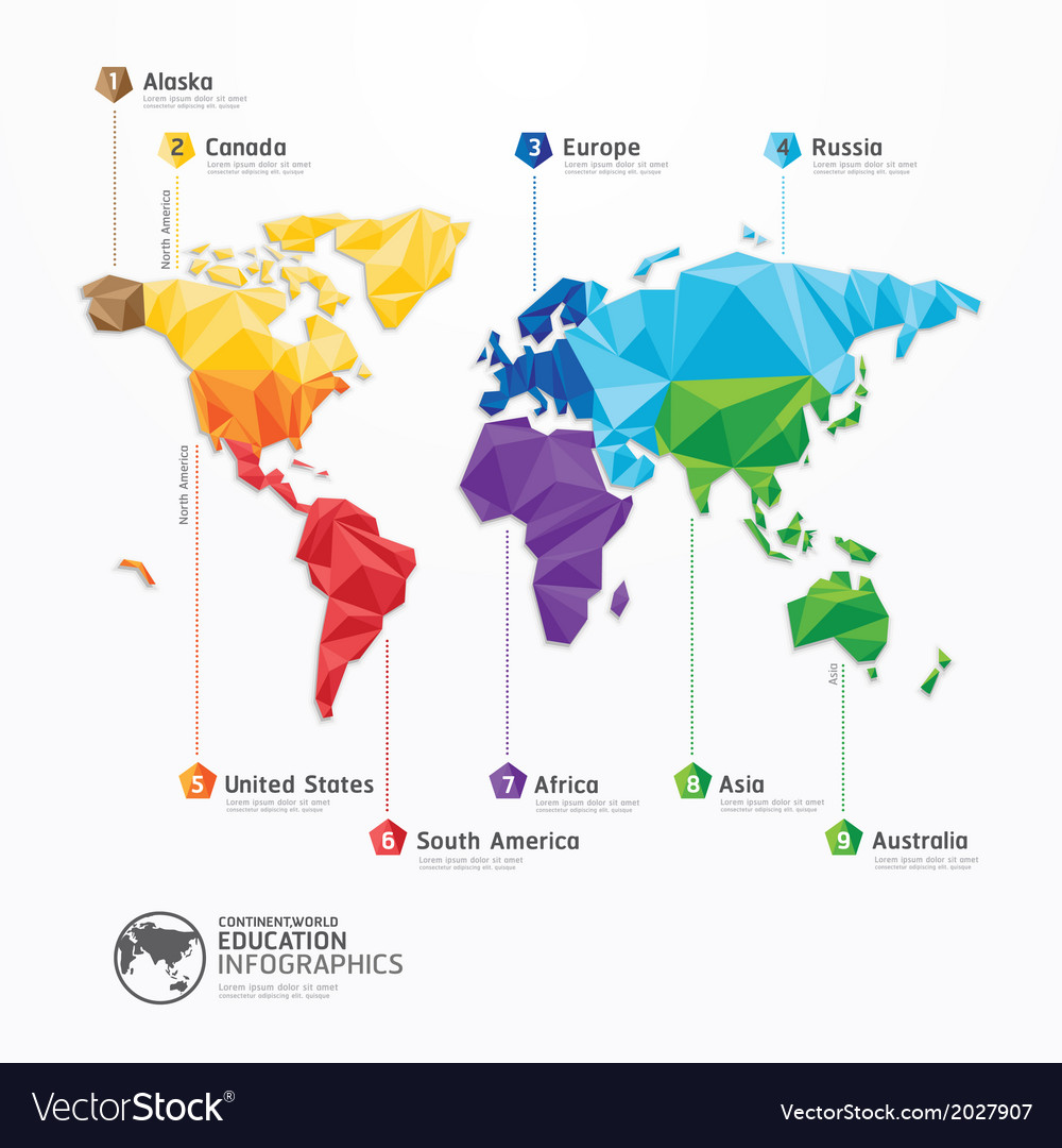 World map infographics geometric concept design vector image gumiabroncs