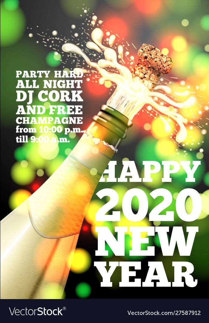 2020 new year banner with champagne bottle