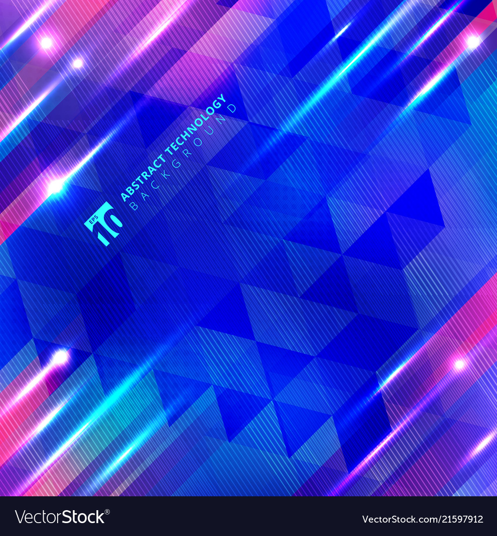 Abstract blue geometric motion with lighting glow