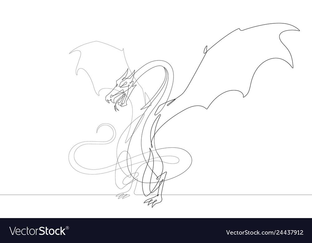 Fantasy dragon one continuous line graphic