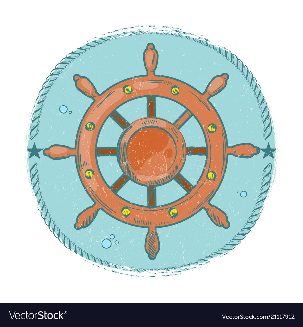 Grunge nautical emblem hand drawn sea wheel