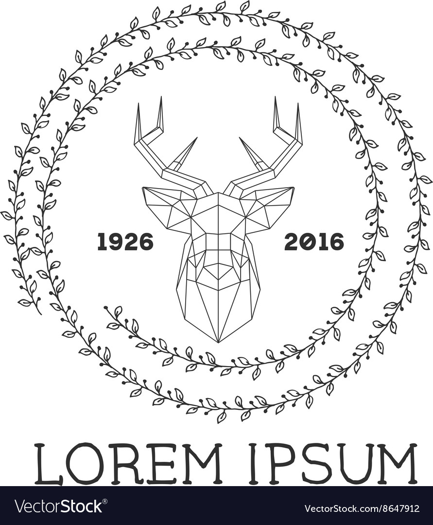 Hipster logo with silhouette of polygonal deer and