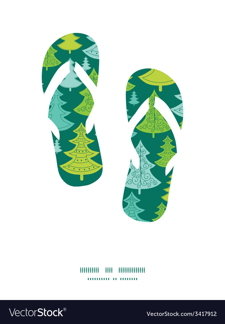 Holiday christmas trees flip flops silhouettes