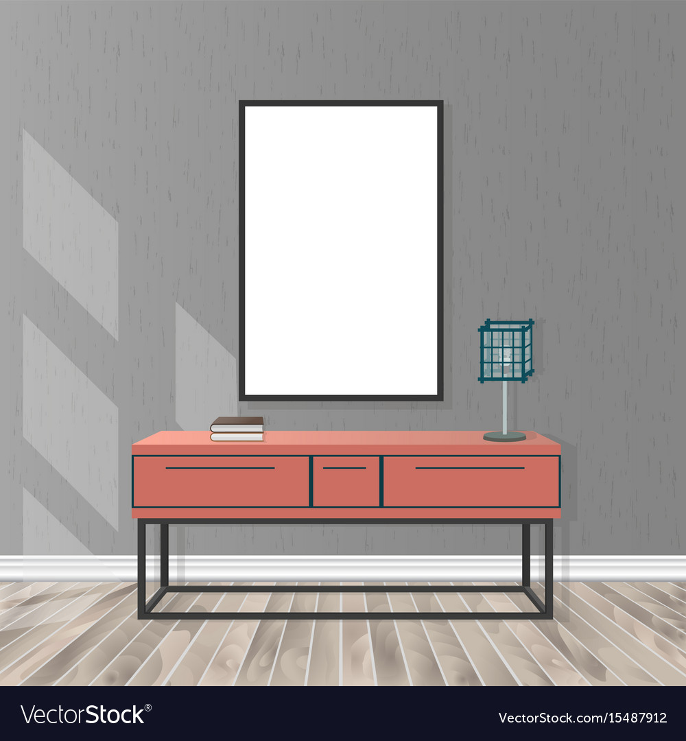 & Mockup living room interior with empty frame Vector Image