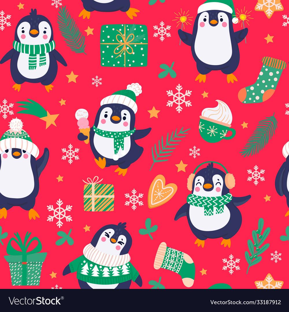 Penguins seamless pattern cartoon cute penguins