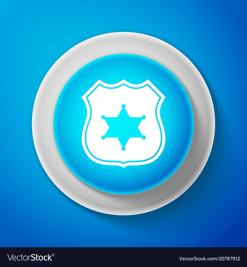 Police badge icon isolated on blue background
