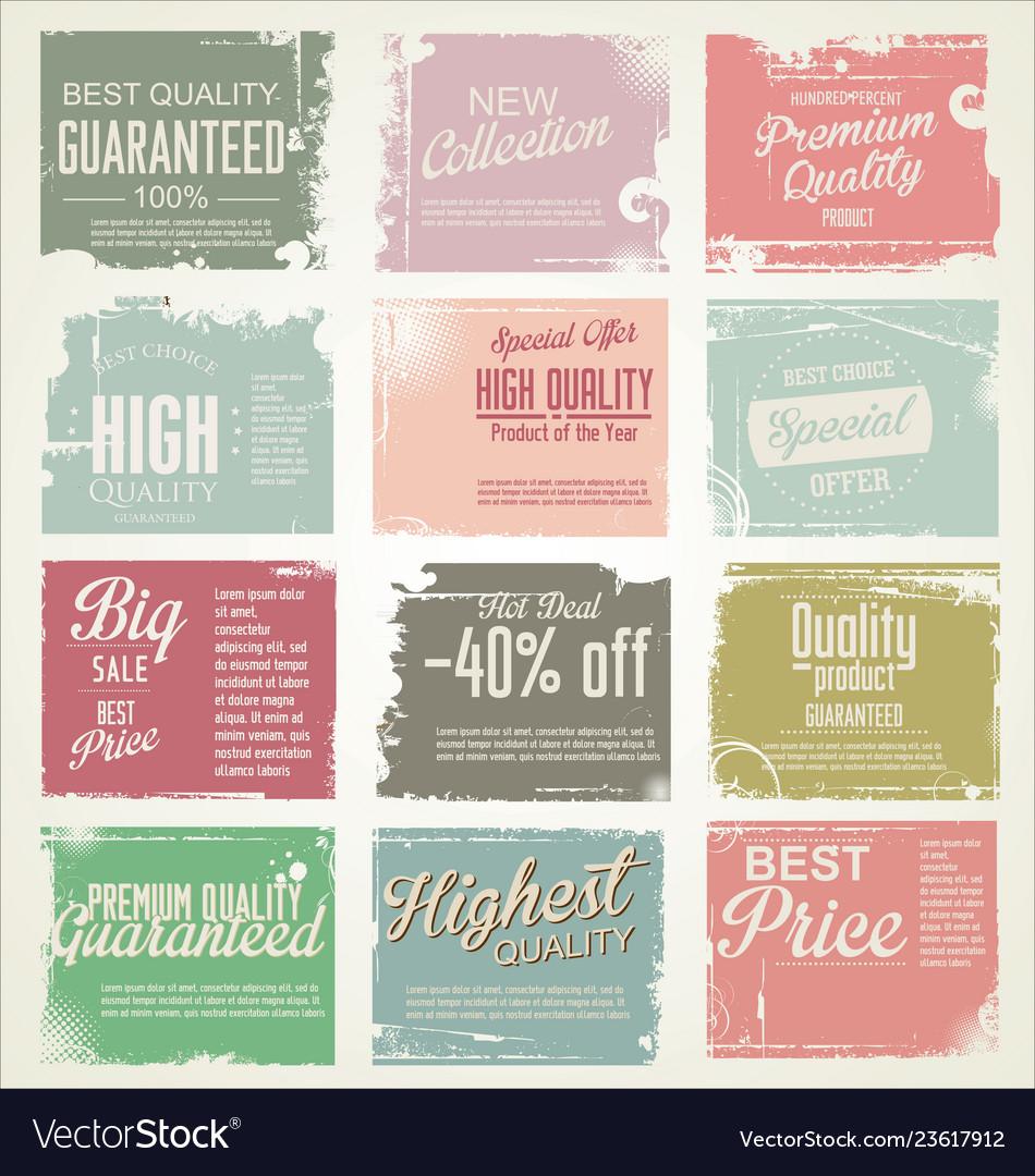 Premium quality retro vintage labels collection