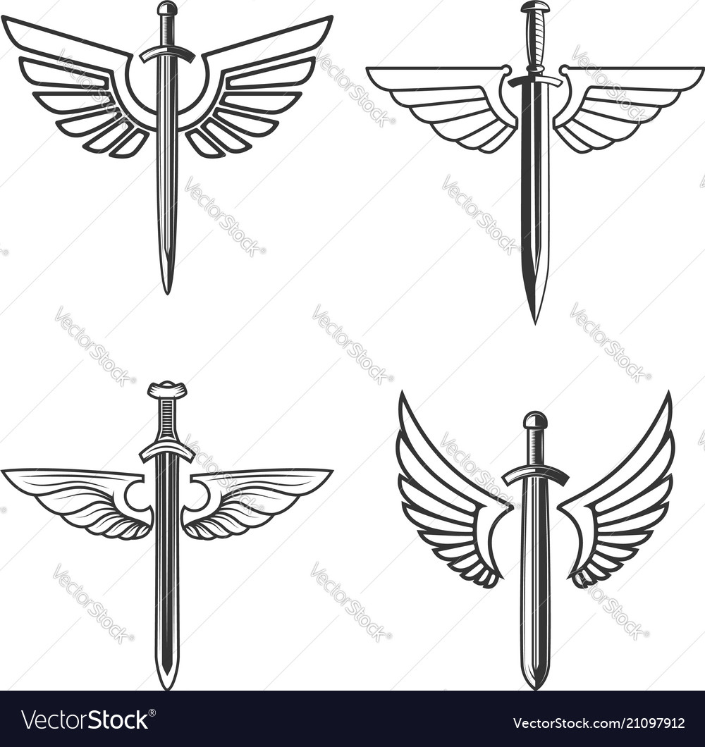 Set of emblems with medieval sword and wings