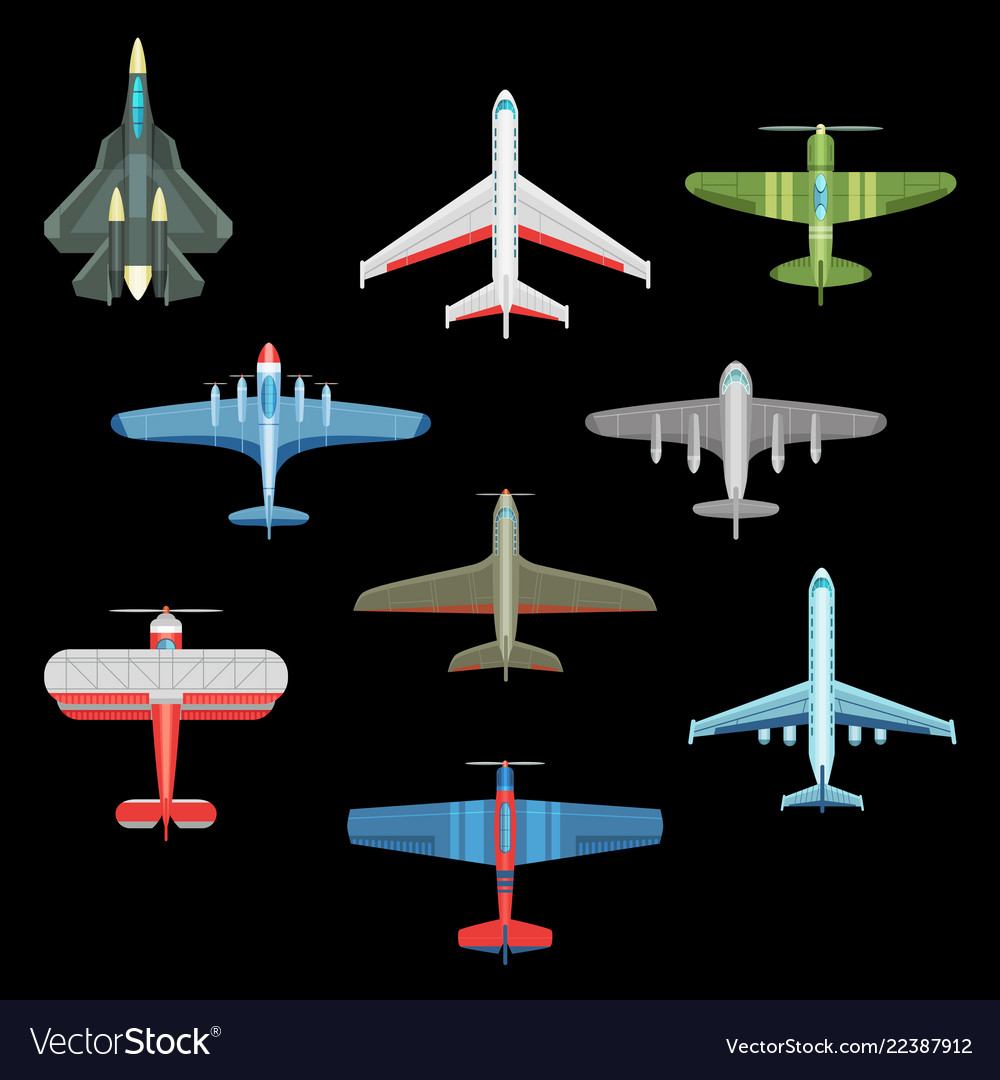 Set of isolated military airplanes or warplanes