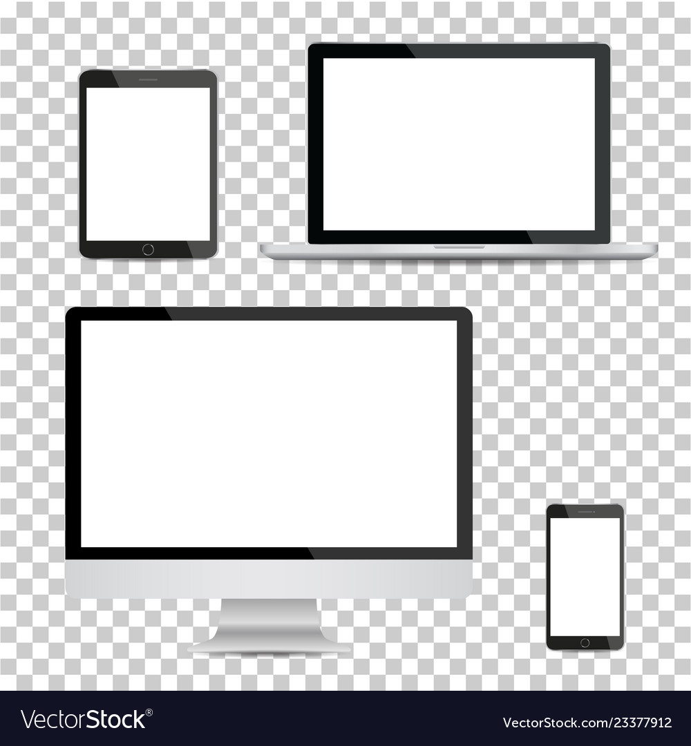 Set of realistic computer monitor laptop tablet