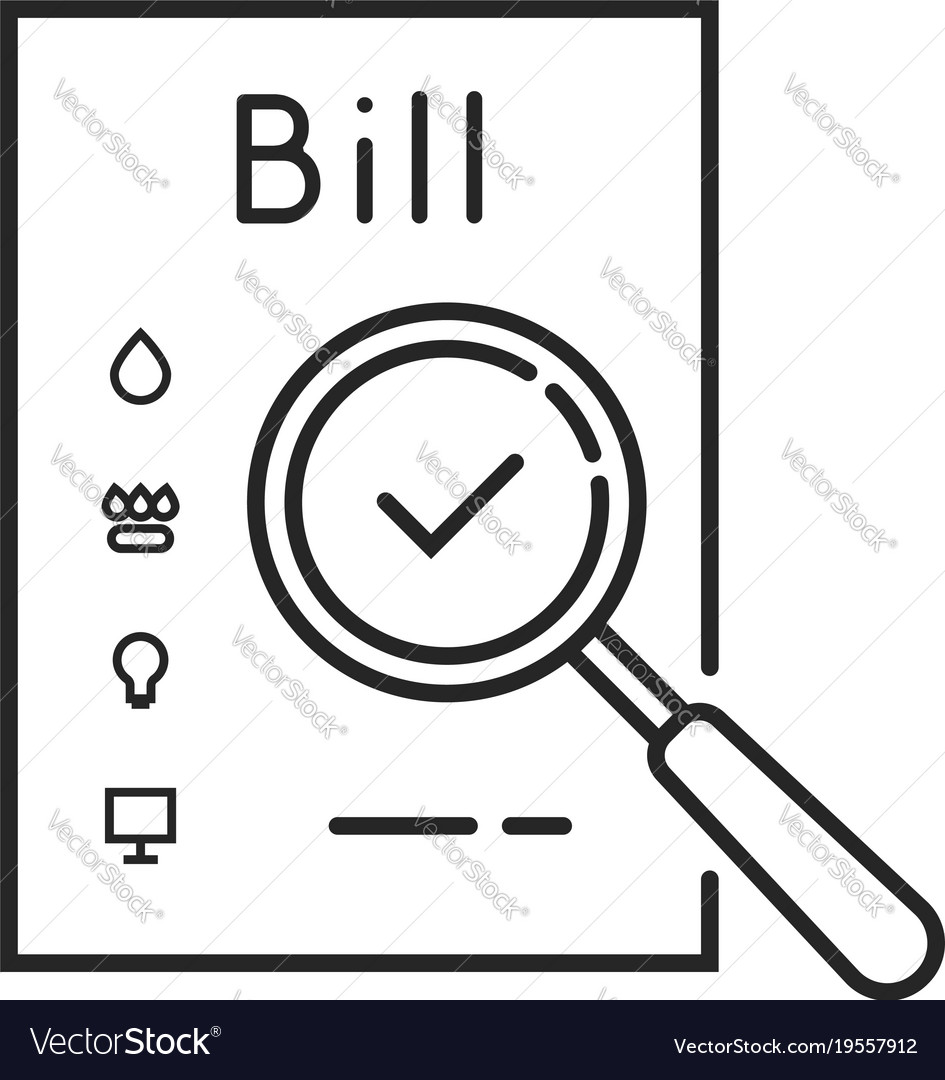 Thin line payment of utility bills icon