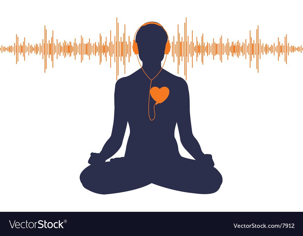 Yoga with headphones vector image