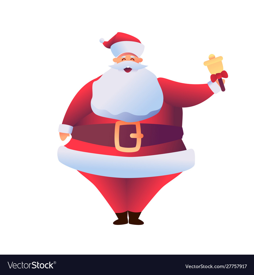 Cartoon santa claus holding golden bell