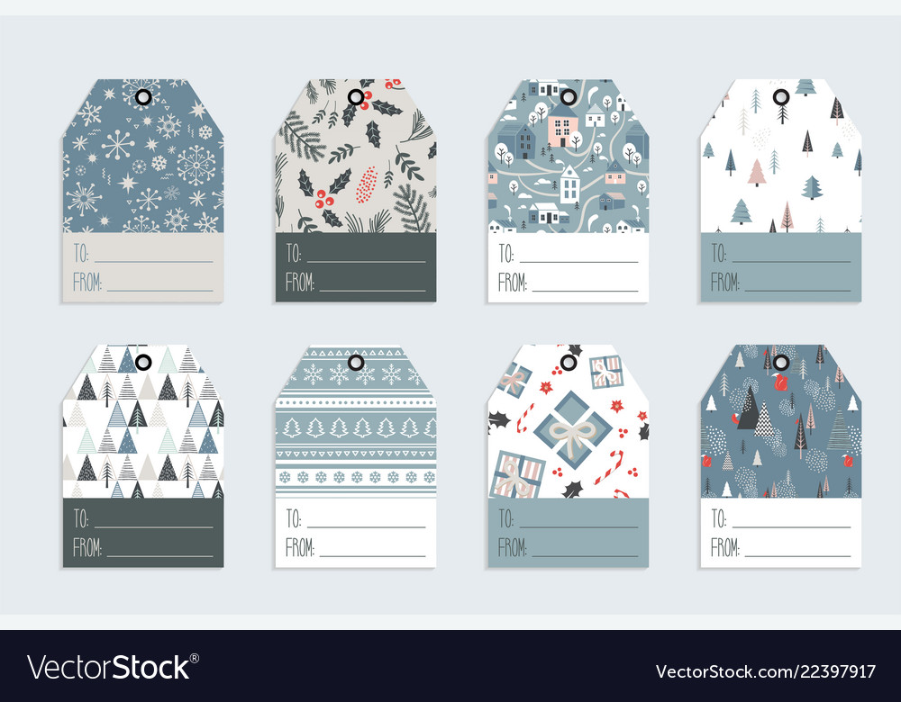 Christmas gift tag set in retro style