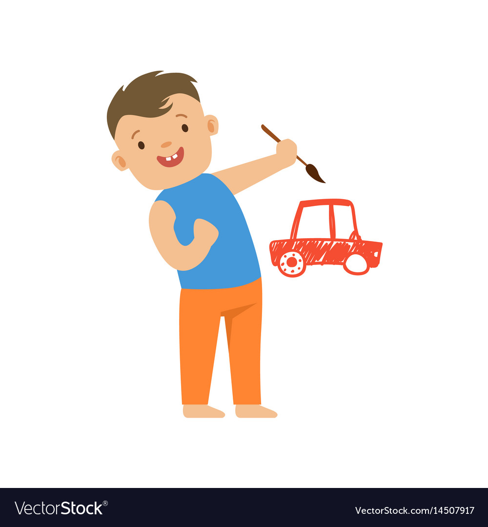 Cute smiling little boy painting a red car on a